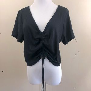 Wild Fable Ruched Front Black Crop Top